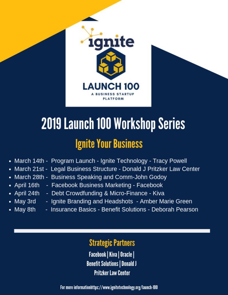 Ignite Launch 100 workshop series dates.